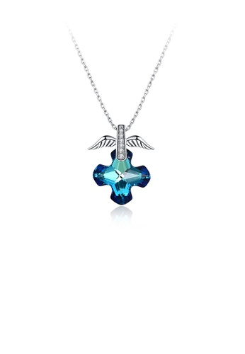 Glamorousky blue 925 Sterling Silver Elegant Fashion Eagle Wing and Cross Pendant Necklace with Austrian Element Crystal 6AE21AC9264DB9GS_1