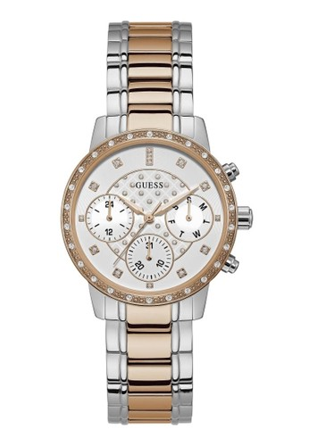 Guess Watch gold and silver Guess Jam Tangan Wanita - Silver Rosegold - Stainless Steel - W1022L4 69596AC039AC7BGS_1