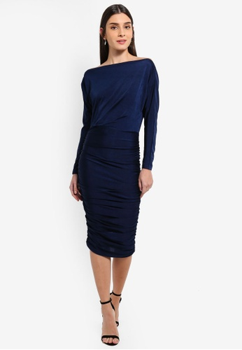 AX Paris navy Navy Boat Neck Dress With Ruched Detail B347DAA0306E03GS_1