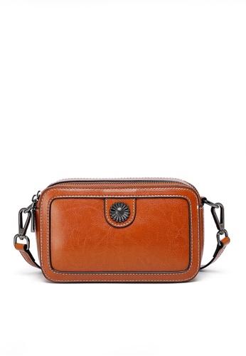 Twenty Eight Shoes brown VANSA Burnished leather Square Crossbody Bag VBW-Cb557005 05555AC4A959DEGS_1