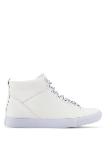 ZALORA white Faux Leather High Top Sneakers A5524SHE55C364GS_1