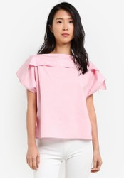 KLEEaisons pink Cold Shoulder Short Sleeve Top KL492AA0RZMRMY_1