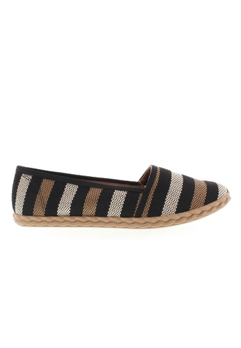 Beira Rio black and grey and brown Stripe Design Multi Colored Espadrilles BE995SH38XERHK_1