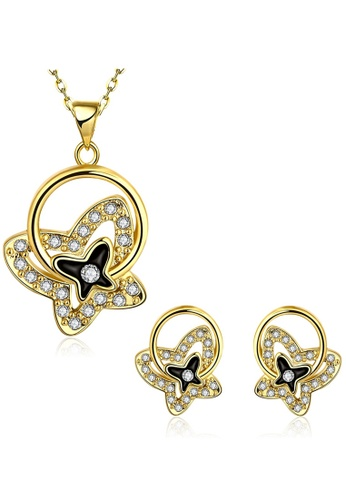 Treasure by B & D gold S524-A Clover Drops Necklace and Earrings Jewellery Set TR022AC70EKRPH_1