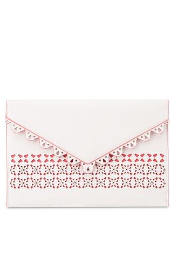 Dorothy Perkins white White Laser Cut Clutch Bag DO816AC79UXGMY_1