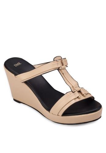 工字esprit 工作帶楔型涼鞋, 女鞋, 楔形涼鞋