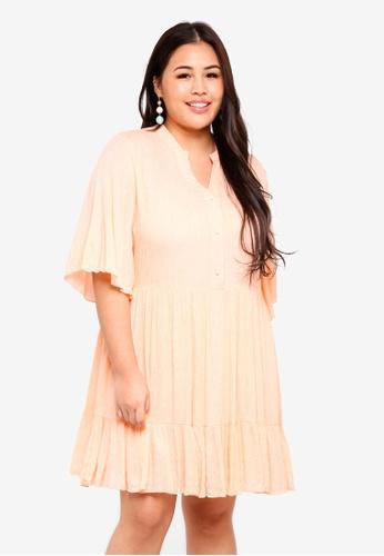ELVI pink Plus Size Mairi Smock Dress With Metallic Thread 3B670AAE02E661GS_1