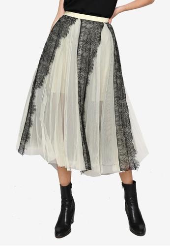 Hopeshow yellow Lace Mesh Midi Skirt 7E5EBAABB0913BGS_1