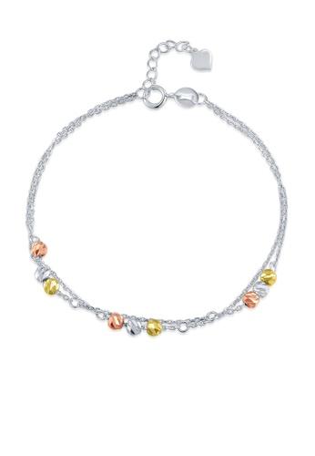 MaBelle silver 14K 585 Tricolor Gold Diamond Cut Beads Double Chain Bracelet 41936AC0F91613GS_1
