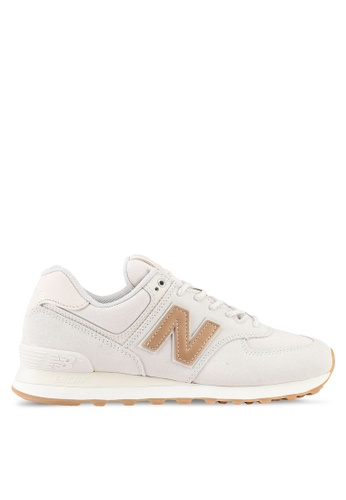 New Balance brown and beige 574 Classic Lifestyle Sneakers NE323SH0SXNNMY_1