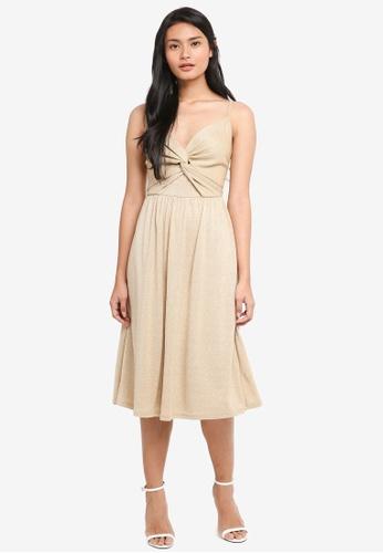 9c77d4baab Dressing Paula gold Twist-Front Shimmer Dress 62473AA4238DE0GS 1