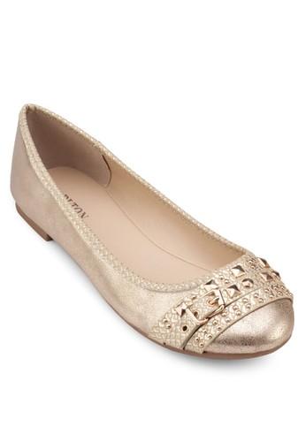 金屬感鉚釘娃娃鞋, esprit outlet 台中女鞋, 鞋