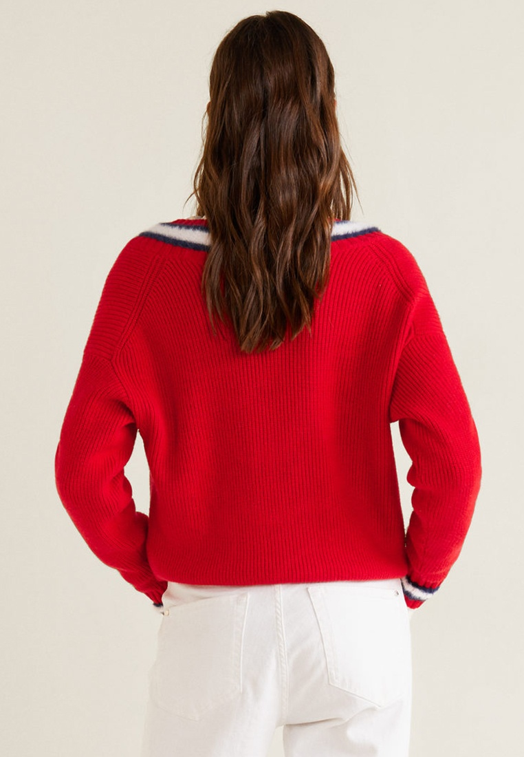 Red Contrasting Knit Mango Contrasting Knit Contrasting Sweater Mango Red Sweater Sweater Knit BP00ATqS