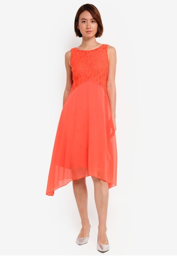 Wallis orange Petite Coral Lace Fit And Flare Dress AAE31AA07D4065GS_1