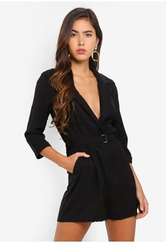 3114df848c3 MISSGUIDED black Wrap Blazer Playsuit 974C5AA9FD8CDFGS 1