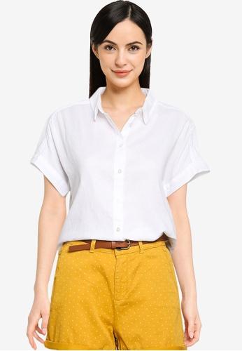 Springfield white Curved Hem Shirt E148CAAE48A6D5GS_1