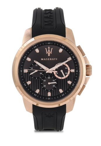 Maserati black Sfida 44mm Multifunction Men's Silicone Strap Watch MA410AC68HHVMY_1