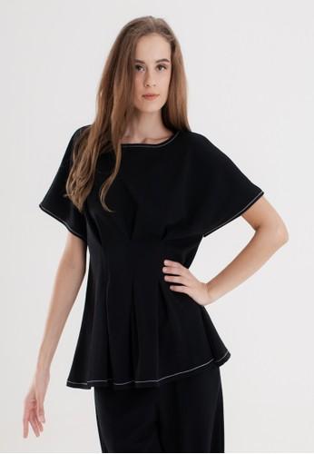 VOERIN black Ghiana Contrast Stitch Blouse 6FA0DAA23281A5GS_1