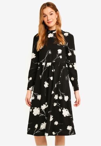 Vero Moda black Zitta Long Sleeve Calf Dress 33408AA5EFF832GS_1