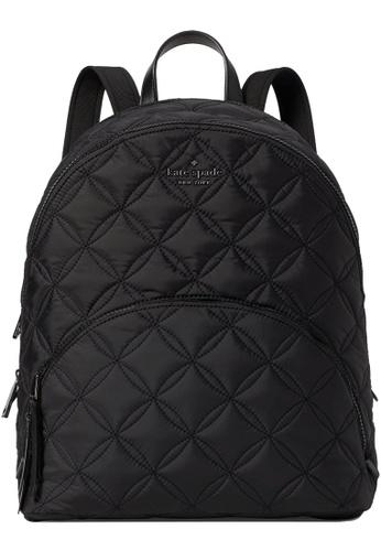 Kate Spade black Kate Spade Karissa Nylon Quilted Large Backpack in Black 0E5CFAC3155CB4GS_1