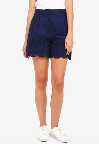 WAREHOUSE navy Broderie Hem Shorts 7DD5BAAC530D29GS_1