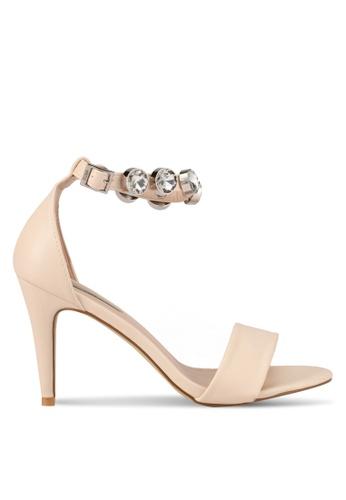 Nose beige White Stone Diamond Strap Heels NO327SH0SAFEMY_1