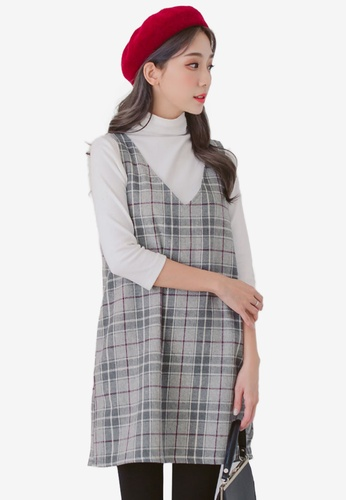 Eyescream grey V-Neck Check Dress 7AB11AA3684B7AGS_1