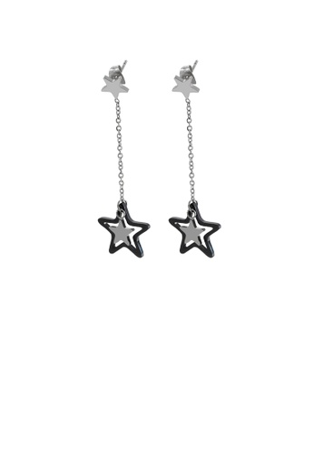 Glamorousky silver Fashion Simple Star Tassel 316L Stainless Steel Earrings E4879AC3DCE927GS_1