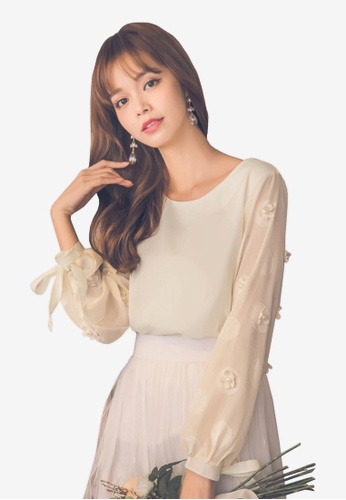 Yoco white Chiffon Tie Sleeve Blouse A4F0AAAAE1FEAAGS_1