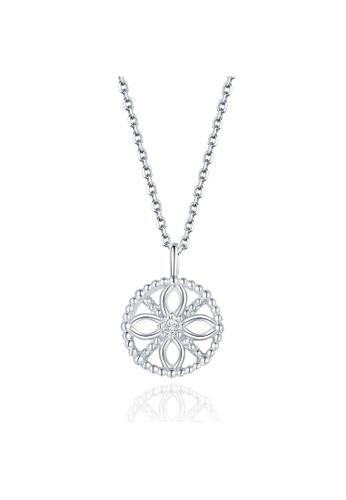 MaBelle silver 18K 750 White Gold Diamond Filigree Circle Pendant Necklace 97963ACC3A0E9AGS_1
