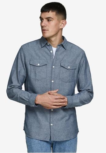 JACK & JONES blue Dobby Shirt 0F636AA0188167GS_1
