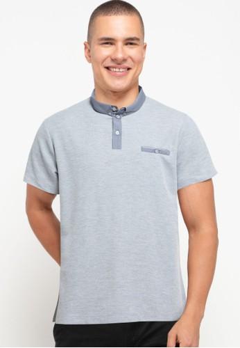Tolliver grey Cotton Colar Polo Shirt A97AAAA047E266GS_1