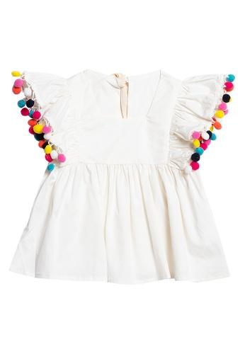 Andi + Olivia white Ruffled Sleeves Tunic Top 57EE1KAD5333C3GS_1