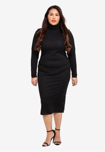3e5cbd52a12 Shop MISSGUIDED Plus Size Roll Neck Ribbed Midi Dress Online on ZALORA  Philippines
