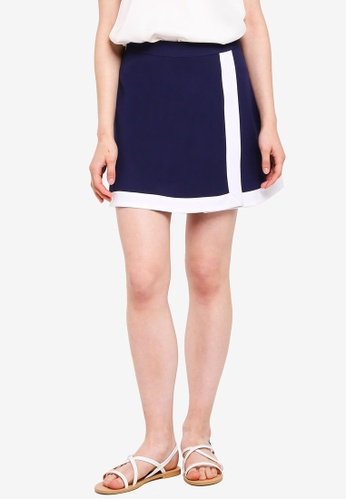 Something Borrowed navy Colorblock Wrap Skirt 42299AA30EAED1GS_1