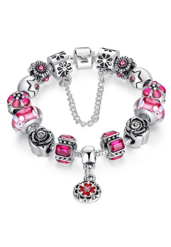 YOUNIQ red YOUNIQ Silver Charm Bracelet with Safety Chain Rhinestone Luxury Bijoux for Her Gift PA1857 (Red) ADA5CAC4EB600FGS_1