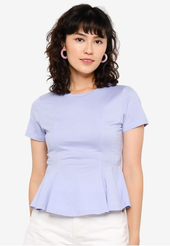 Urban Revivo blue Peplum Cropped T-shirt 6C005AAD0827C9GS_1