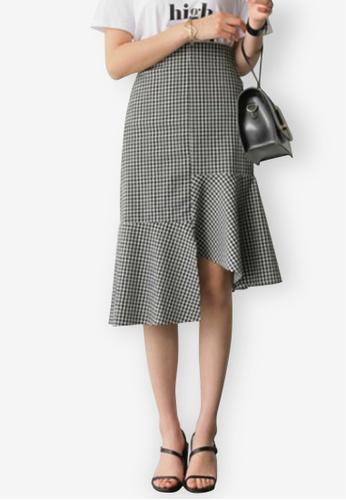 Sunnydaysweety multi Temperament Lattice Stitching Fishtail Skirt 9053EAA1F34C14GS_1