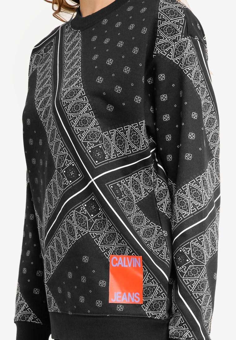 Sweatshirt Os Bandana Bandana Neck Crew A Jeans Klein Black Calvin Klein Calvin Ixq7v7w