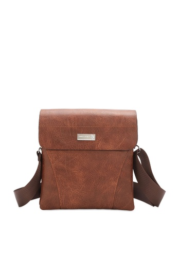 Swiss Polo brown Textured Flap Sling Bag 9829EACBF02A16GS_1
