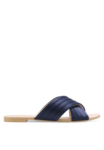 ZALORA navy Cross Strap Quilted Sliders 4E56CSHDE7B080GS_1