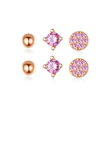 Glamorousky pink 925 Sterling Silver Plated Rose Gold Simple and Delicate Geometric Round Stud Earrings with Pink Cubic Zirconia F9013AC11C9E5CGS_1