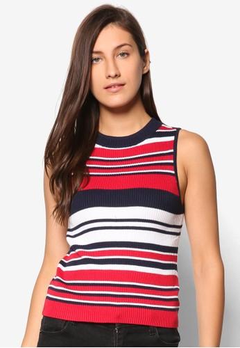 條紋高領無袖針織T-shirt、 服飾、 女性服飾Factorie條紋高領無袖針織上衣最新折價