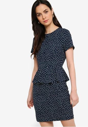 ZALORA WORK multi Short Sleeve Peplum Dress DB092AA57C1BE2GS_1
