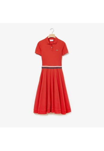 79a274e20 Lacoste red Women's MADE IN FRANCE Tricolour Striped Mid-Length Polo Shirt  Dress-EF3928