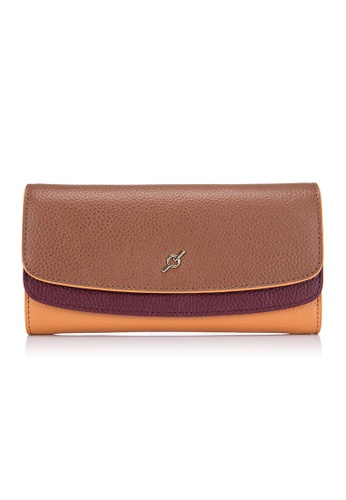 ENZODESIGN brown and red and orange and multi Pebble Grained Cow Leather Flap Wallet EN357AC0H61FSG_1
