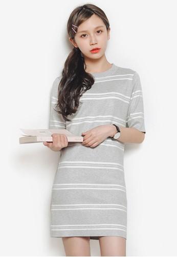 Sebastian 條紋直筒A 字連身裙, 服esprit home 台灣飾, 洋裝