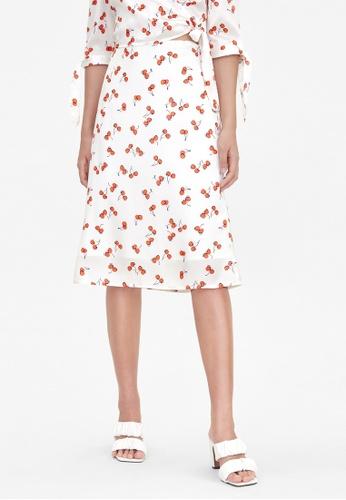 Pomelo white Cherry Print A Line Skirt - White 2CEA3AAF85ED30GS_1