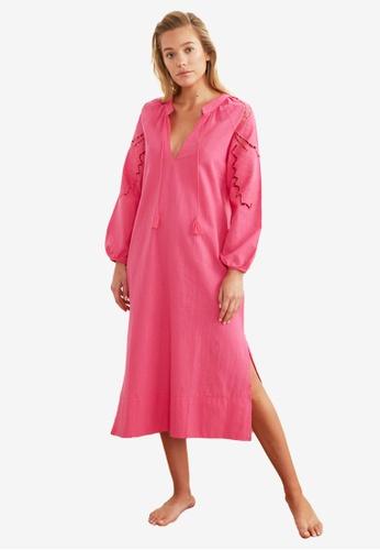 Trendyol 粉紅色 長袖洋裝 F645FAAB01385DGS_1