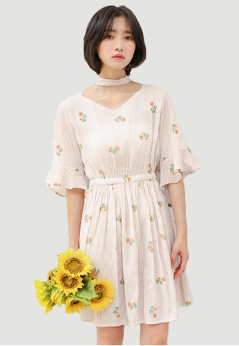 Shopsfashion white and orange Sun Flower Printed Choker Dress T62T1222-O SH656AA0FSRHSG_1